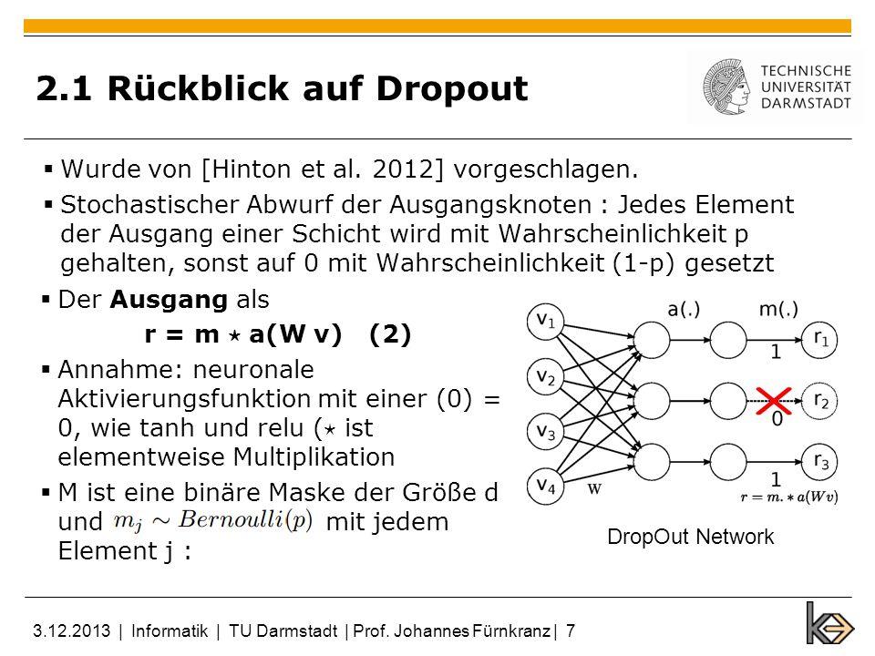 2.1 Rückblick auf Dropout Wurde von [Hinton et al. 2012] vorgeschlagen.